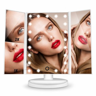 hamswan 3x magnification makeup mirror with touch screen, 21 led lights and 180 degree rotation