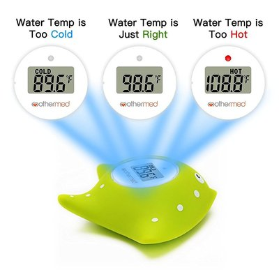 mothermed green fish baby bath digital thermometer with lcd screen display and alarm safe and fun floating bath toy