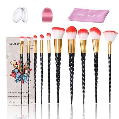 mysweety professional unicorn makeup brush set includes 10pcs brushes, 2pcs silicone sponge, makeup brush washing egg and brush bag