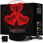 rainbolights I love you hearts 3d illusion night light with 7 display color the best gift for valentine's day