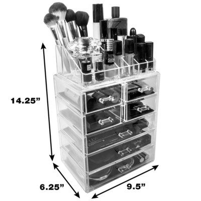 sorbus acrylic cosmetics and makeup storage case set with 7 drawers and 16 sections