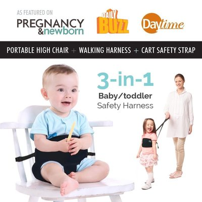 yochi yochi 3 in 1 portable high chair, walking harness and cart safety strap with long and adjustable straps for baby and toddler