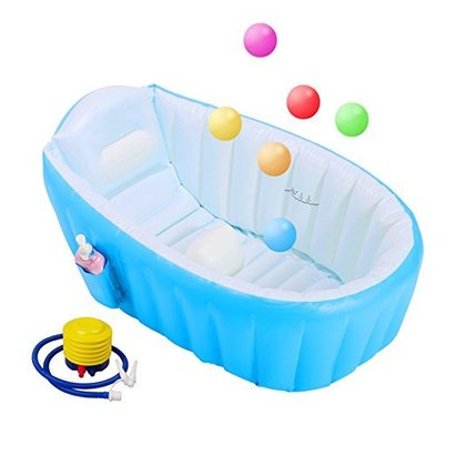 biubee baby inflatable bathtub safe and non-slip with blast pump and 6 colorful ocean balls