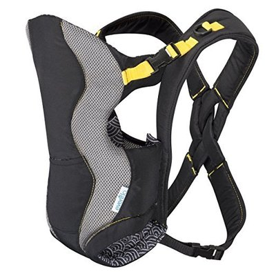 evenflo breathable infant carrier with two carrying positions and removable bib