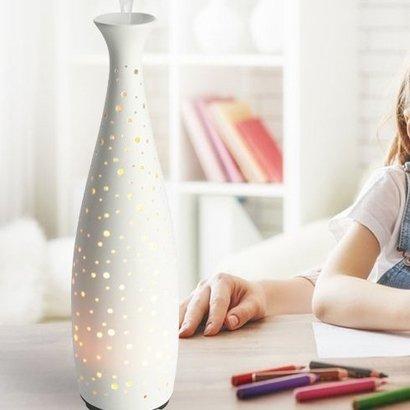jolyjoy 110ml decorative ceramic ultrasonic aroma diffuser with elegant vase shape, warm starry led night light and adjustable mist mode