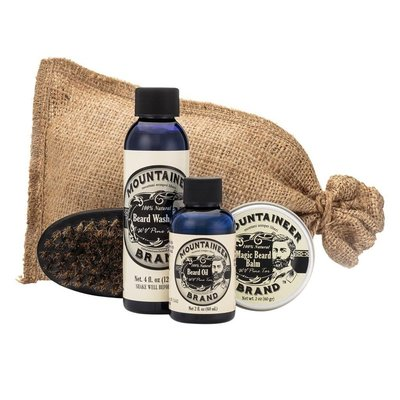 mountaineer brand complete beard care kit includes beard oil, balm, wash and style brush