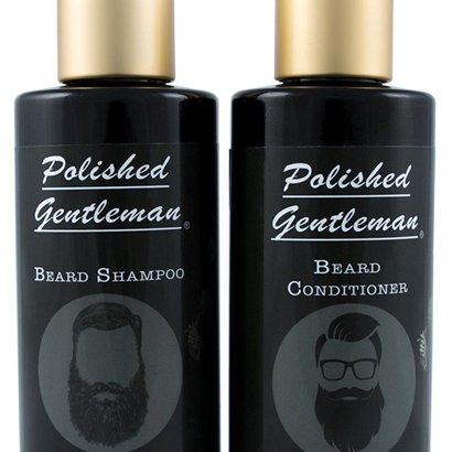 polished gentleman beard shampoo and conditioner with natural organic ingredients for growth, for stronger, soften, fuller and tangle free beard