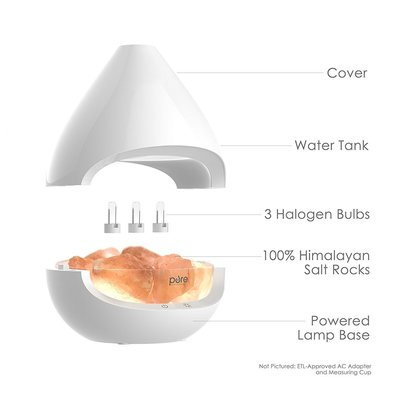 pure enrichment pureglow crystal himalayan salt rock lamp and ultrasonic oil diffuser with 5 glow light settings, 2 in 1 salt lamp an oil diffuser