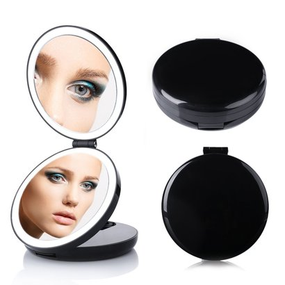 butyface led lighted travel makeup mirror with 1X and 7X magnification and 20 pcs led lights