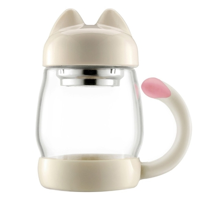bzy 14 oz cute cat tea mug with lid and strainer, safe and non toxic, great gift for tea lovers