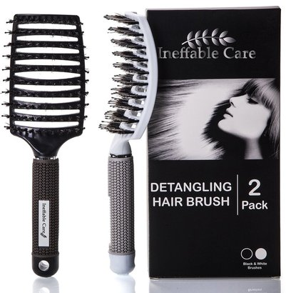 ineffable care detangling natural boar bristles hair brush set with curved design, vented flexible head and anti slip grip