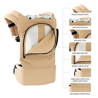 mo+m ergonomic baby sling carrier of 100% cotton with mesh cooling vent, hood and pockets