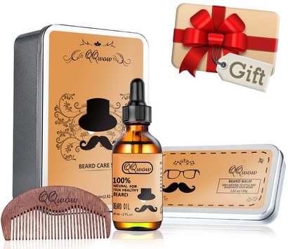 qqwow beard care set includes 100% natural beard oil, beard balm and wooden comb