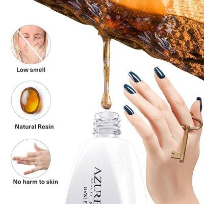 azure beauty base and top coat 2 pcs 21+ days lasting soak off uv and led nail gel