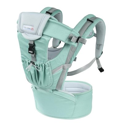 cute4babies 6 in 1 ergonomic 360 baby carrier with double padded shoulder straps, comfortable hipseat with pocket and foldable hood