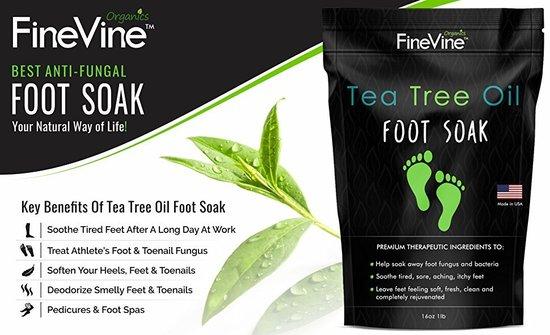 finevine organics tea tree oil foot soak with premium therapeutic anti-fungal ingredients 16 oz