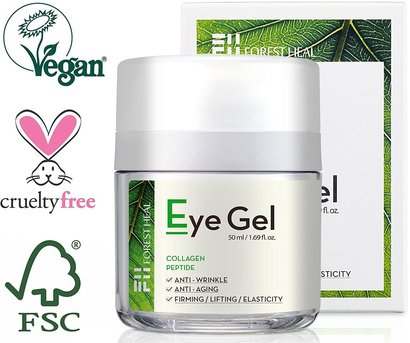 forest heal anti-aging eye gel with collagen and peptide 100% vegan and cruelty free 1.69 fl.oz.