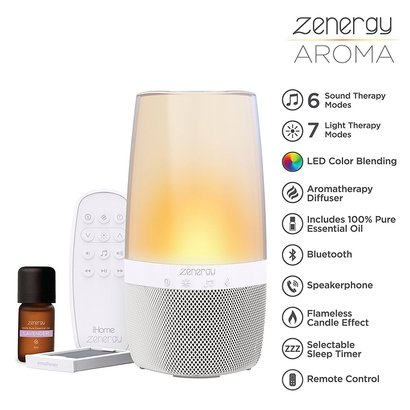ihome zenergy aroma wireless bluetooth color changing speaker with aroma diffuser and built-in sound therapy includes lavender essential oil