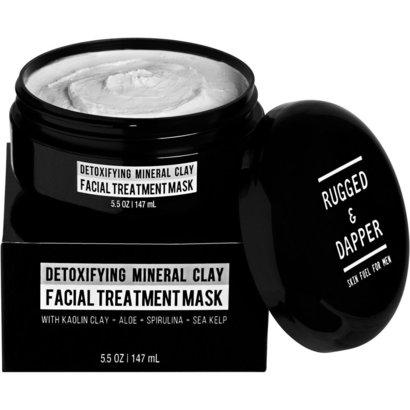 rugged & dapper detoxifying mineral clay treatment mask for men with kaolin clay, aloe, spirulina and sea kelp 5.5 oz