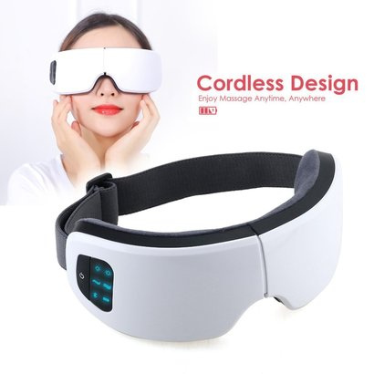 selenechen eye massager and eye mask with cordless design, intelligent air compression and suitable 104° f temperature, rechargeable with bluetooth support