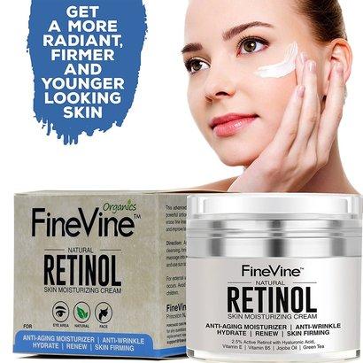 finevine natural anti-aging skin moisturizing retinol and hyaluronic acid cream - made in usa