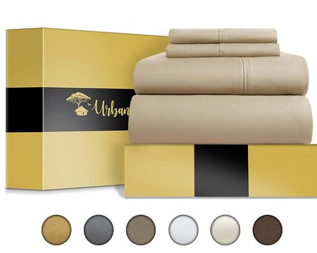 urban hut 100% egyptian cotton sheets set of 4 piece premium bedding set in luxury box ready for a gift