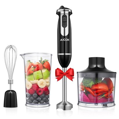 aicok hb2230b 350w hand blender with 6 speed control includes 500ml chopping bowl, 800ml beaker, blender stick and whisk