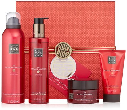 the ritual of ayurveda 4 pieces gift set includes body scrub, shower oil, shower foam and body cream in luxury keepsake box