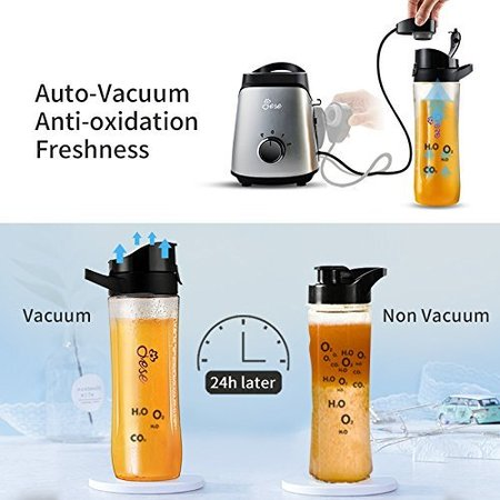 jese bpa free personal smoothie blender with revolutionary vacuum assembly, grinding cup and two travel bottles 20oz and 14oz includes recipe book and ice tray