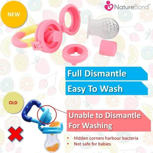 naturebond baby fruit and vegetables feeder, pacifier and teething toy 2 in pack, comes in 3 customised sizes of silicone teats