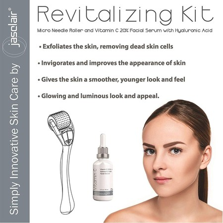 jasclair microneedl roller therapy revitalizing kit includes 540 titanium alloy micro pin needle roller, vitamin c with hyaluronic acid facial serum and e-book guide