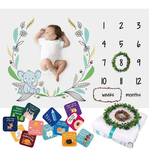 Baby Milestone Blanket with Photo Props included 18 baby milestone cards for Boys and Girls ideal baby shower gift by Athena Futures