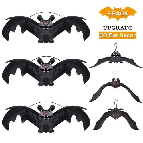 HANPURE 6 pieces Soft Rubber Halloween Bat Hanging Home Decoration