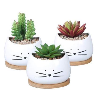 KoolKatKoo Ceramic Cute Cat Succulent Planter