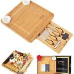 MaxMoxie Natural Bamboo Cheese Board Set