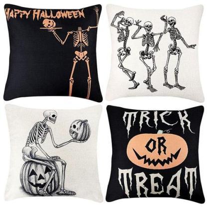 TERUNPU 4 Halloween Patterned Pillow Covers with Metal Zipper