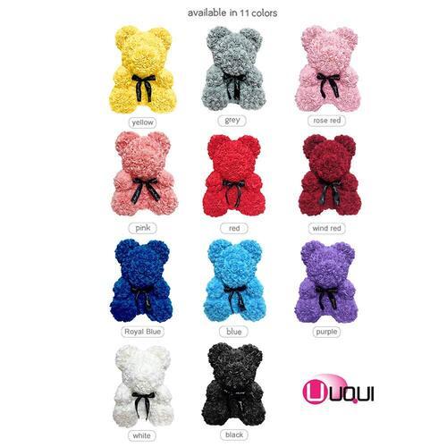 U UQUI Vivid Handmade Artificial Flower Black Rose Bear Gift Idea for Halloween