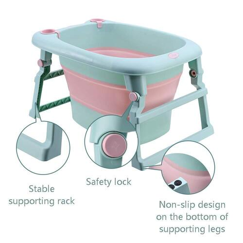 UNAOIWN Baby Bath Folding Tub for Newborn, Infant and Toddle