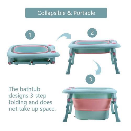 UNAOIWN Baby Bath Folding Tub includes Bath Stool and Water Rinser Cup