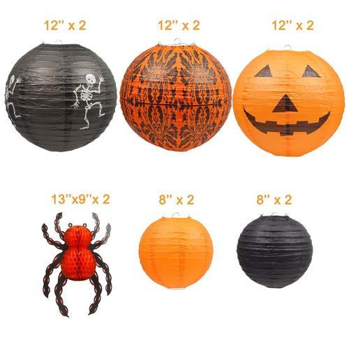 UNIQOOO Set of 12 Halloween Hanging Paper Lantern for Home Decoration