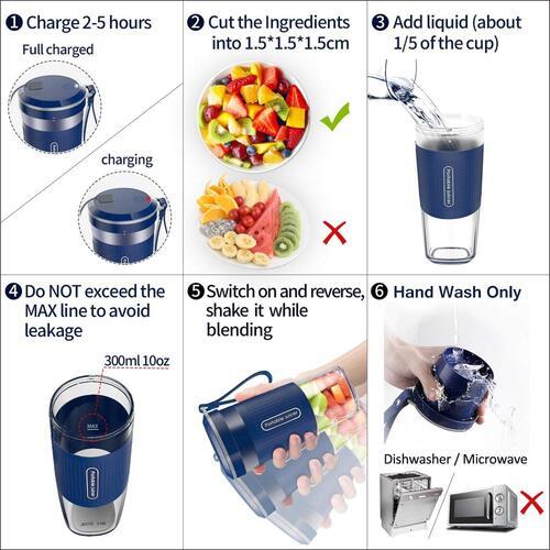AUZKIN BPA free IP68 waterproof 10 oz Personal Blender 10 Times Blending