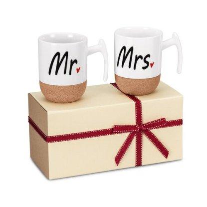 Zi-Rui Smooth Ceramic and Quality Printing Mr and Mrs 9.5 oz Coffee Mug Set