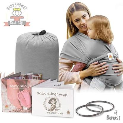 lazy monk organic cotton baby sling wrap carrier comes with 2 rings and storage bag