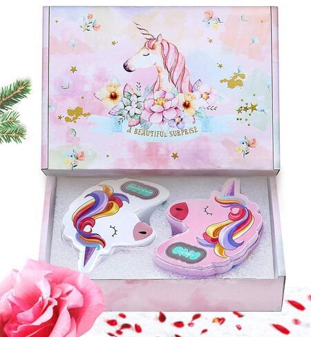 unicorn shape with rainbow effects bath bombs by ANCwear