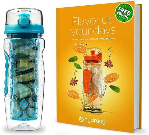 Hydracy 32 oz Leak Proof Fruit Infuser Water Bottle with Insulated Sleeve
