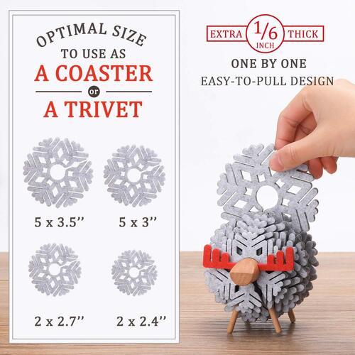 14 pcs Heat Resistant Snowflake Drink Coasters or Trivets with Deer Holder by VANTOO
