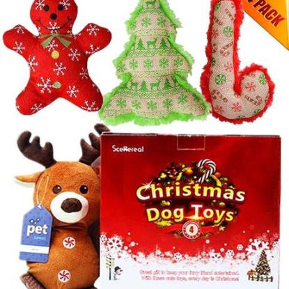 4 Pack Xmas Toy Set for Small Dogs and Cats by SCENEREAL