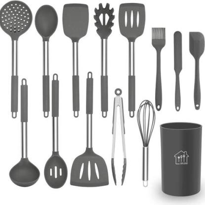 AILUKI Kitchen Utensils with Professional Grade Silicone and Stainless Steel Handle