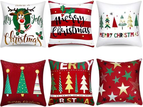 Boao 6 pcs Polyester Peach Pillow Covers with Christmas Patterns