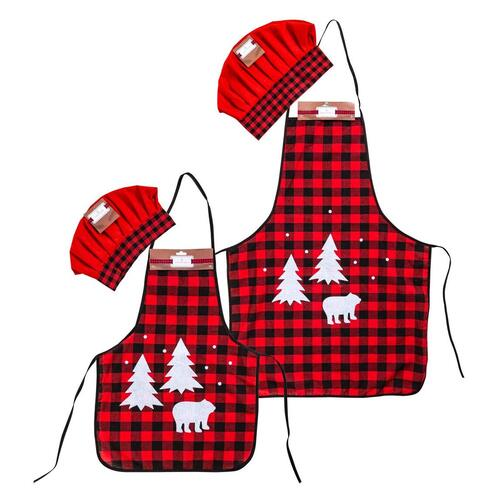 Christmas Adult and Child Apron Chef Set with Accessories by Sister Novelties